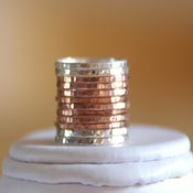 Image of 14k rose / pink gold filled and sterling silver hammered stackable rings, mixed metals