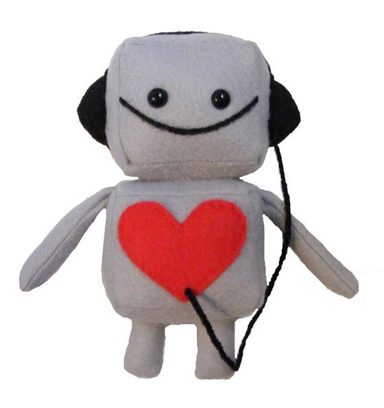Image of Gray Mini Robot with Headphones Plush Toy