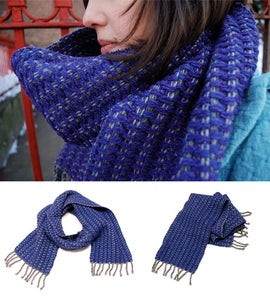 Image of Sonya's grape and heather gray scarf