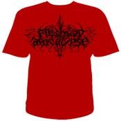 Image of Black logo on RED t-shirt