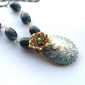 Image of Vintage style necklace floral cameo with brass flower