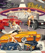 Image of FF Phil's Diner Sexy Pin Up Girls 1950's Carhop Cotton Fabric