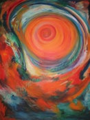 "Image of ""Whirlwind ~ The Wildness of my God"", 30""x40"" acrylic on stretched gallery canvas"