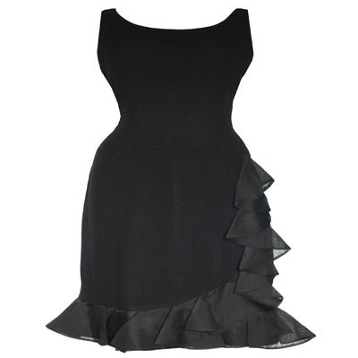 Image of Vintage 1950s Black Ruffles Cocktail Dress