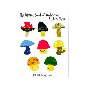Image of Merry Band of Mushrooms Sticker Sheet