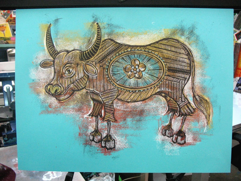 Image of Year of the Ox Print, Blue Colorway