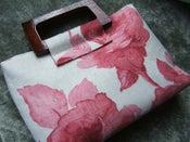 Image of Elegant Pink and Ivory Rose Print Handbag