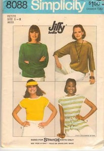 Image of Simplicity 1970's Knit Pullover Top Pattern, Size S (10-12)
