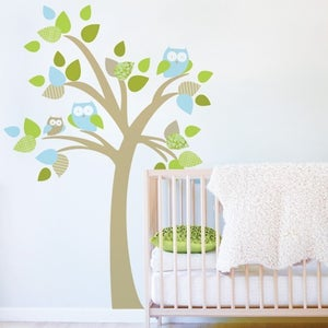 Image of Tree with Owls Fabric Decal - Removable and Reusable