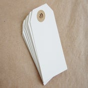 Image of White Gift Tags with Kraft Reinfoced HOles