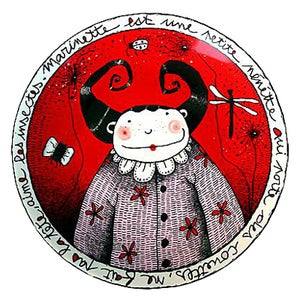 """Image of Fun Porcelain Plate """"Marinette"""" by Mlle Héloïse"""