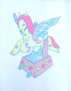 Image of Pegasus postcard by Simon Daly for The Mythical Beast Sweet Shoppe