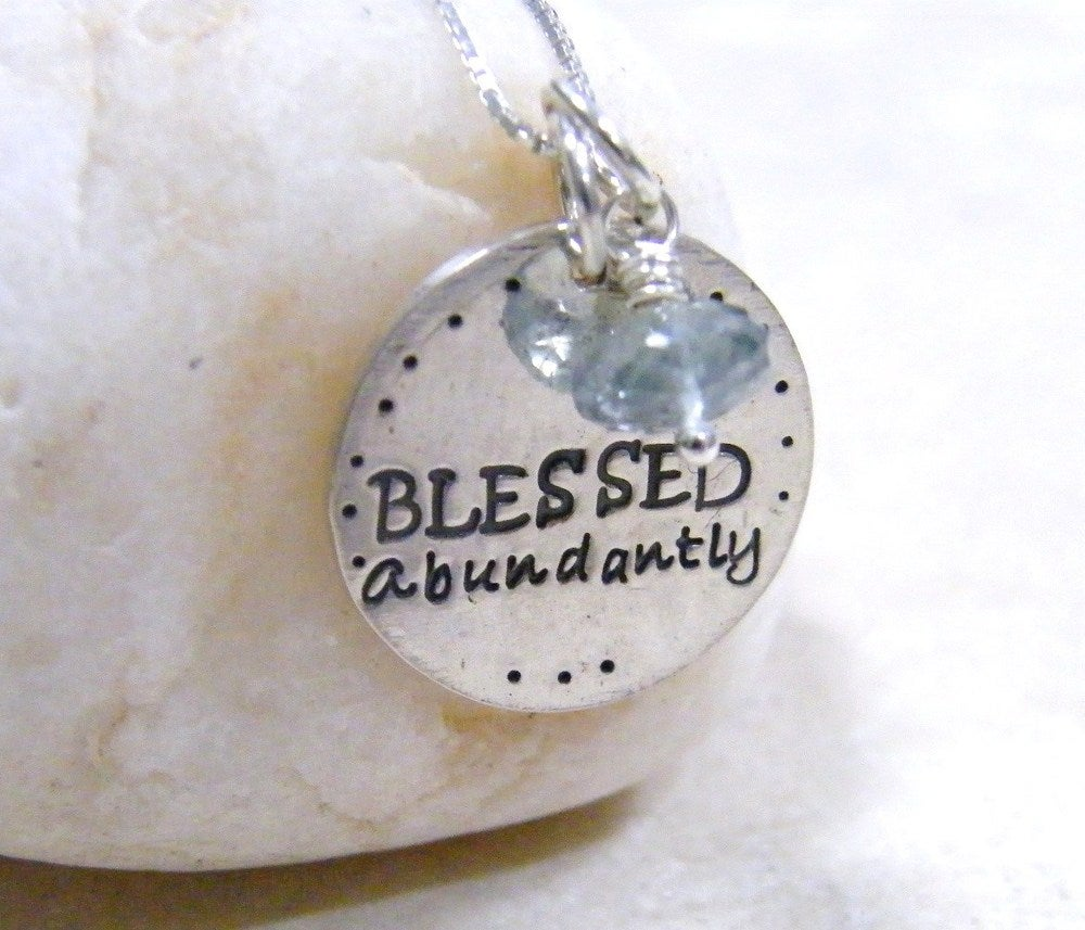 Image of blessed abundantly sterling silver necklace
