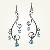 Image of Greek Isle Earrings with Blue Topaz, Sterling Silver