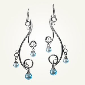 Image of Greek Isle Earrings with Blue Topaz, Sterling Silver