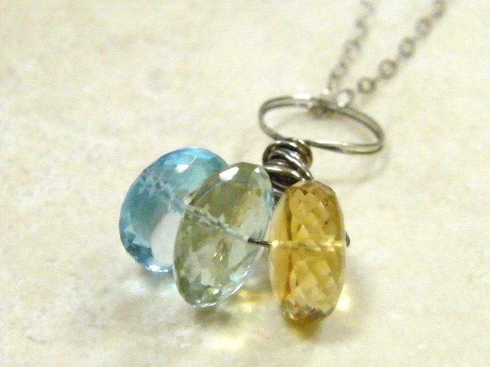Image of Designer Cut Three Gem Necklace 2