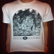 Image of White T-Shirt with Black Screen Print