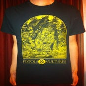 Image of Black T-Shirt with Gold Screen Print