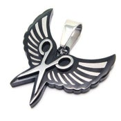 Image of Wing & Shears Necklace STAINLESS Steel (black)