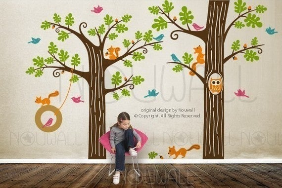 NEW DESIGN   Animal Friends In Woodland With Tyre Swing   Vinyl Sticker  Wall Decal Children Playroom Part 98