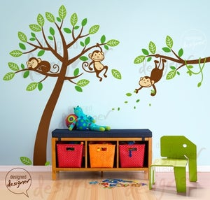 Image of 3 Monkeys on Tree with Separated Branch EXTRA LARGE over crib - dd1050 - Kids Vinyl Wall Sticker Dec