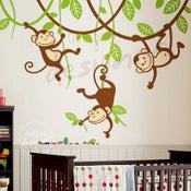 Image of Three Monkeys Swinging on Vines - dd1049 - Kids Vinyl Wall Sticker Decal Art