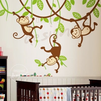 pics photos monkey kids wall art sticker baby room monkeys wall stickers monkey stickers and baby monkey