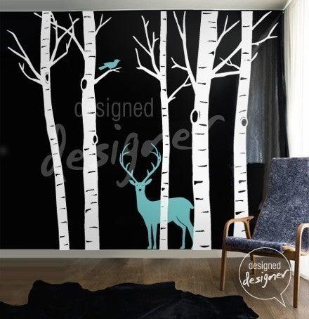 Vinyl wall sticker decal art winter birch trees with deer for Deer wall mural