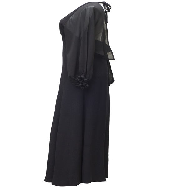 Image of Vintage 1970s Ossie Clark Black Maxi Dress