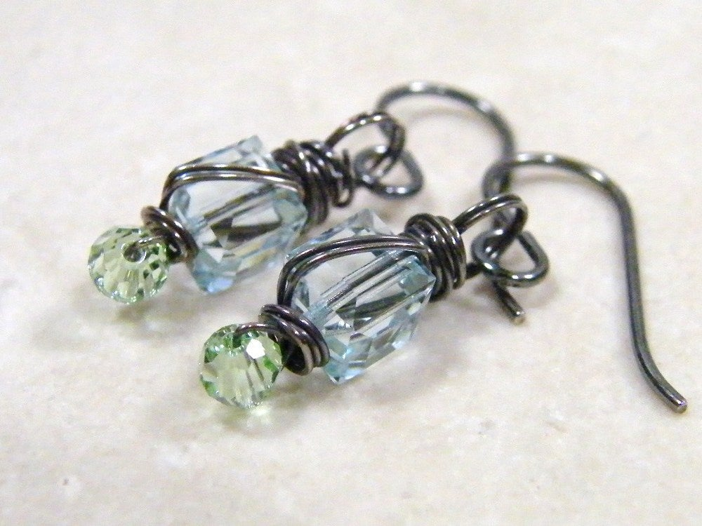 Image of wrapped crystal earrings