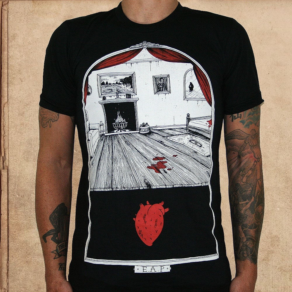 Image of Tell Tale Heart - discharge inks - unisex only 2X left