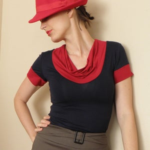 Image of Paris Cowl Neck Top in Navy Blue and Bright Red Jersey