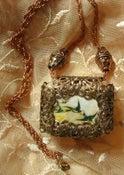 Image of SOLD - Fly Away Home Brass Filigree Clockwork Musical Pendant