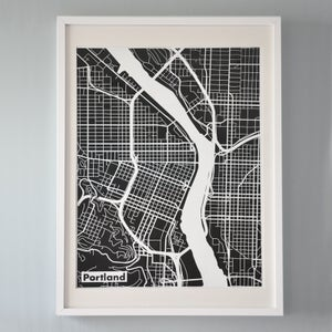 Image of Black Silk-Screen Printed Map of Portland