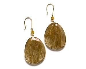 Image of Smoky Quartz and Sapphire Drop Earrings, 18k