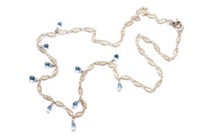 Image of Silver Necklace with Blue Topaz Drops