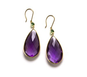 Image of Amethyst and Tsavorite Earrings in 18kyg.