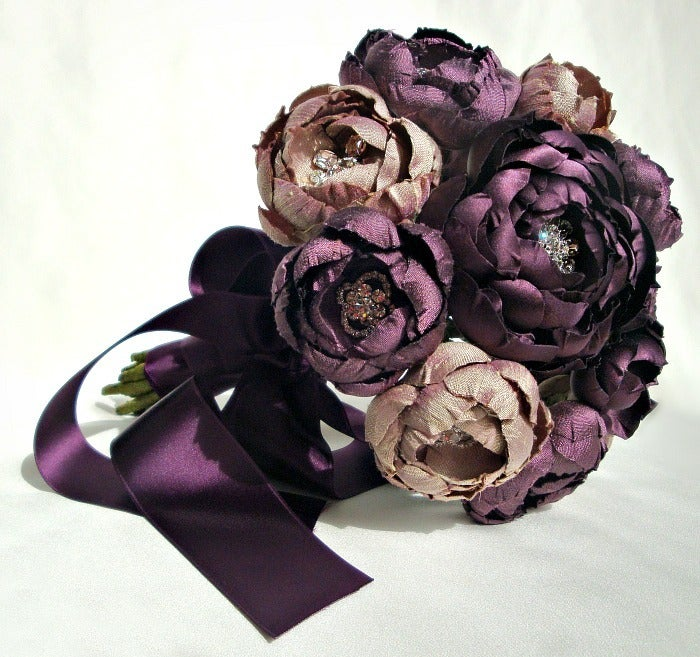 Image of Plum and Lavender Champagne Silk Catala Bouquet