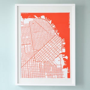 Image of Red Silk-Screen Printed Map of San Francisco