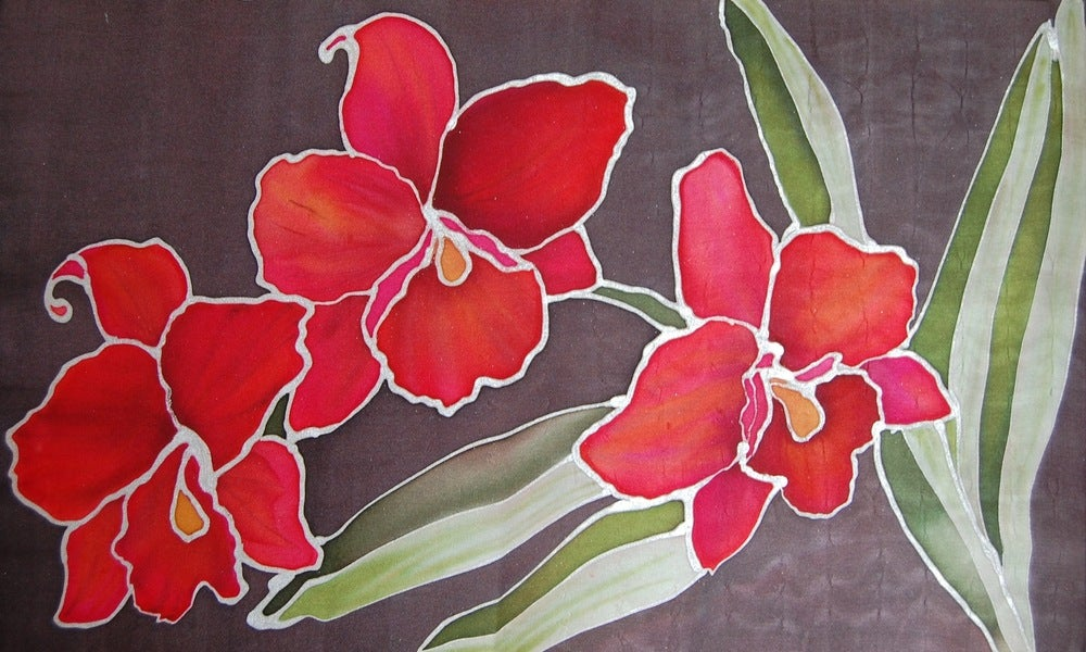 Image of Red Orchids Silk Portrait - Handpainted Silk