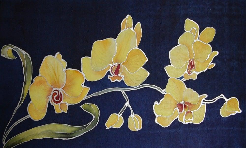 Image of Yellow Orchids Silk Portrait - Handpainted Silk