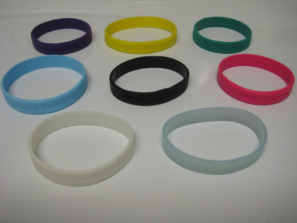 """Image of """"Forget Tomorrow"""" Colored Wristbands - $2"""