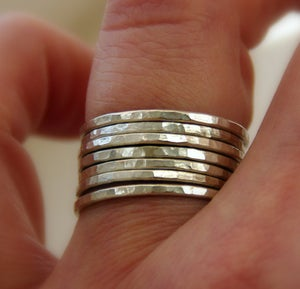 Image of Set of 7 sterling silver stackable rings, hammered textured shiny bands, Made to order in your size