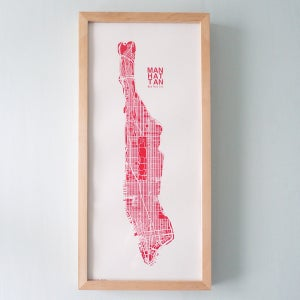 Image of Pink Silk-Screen Printed Map of NYC