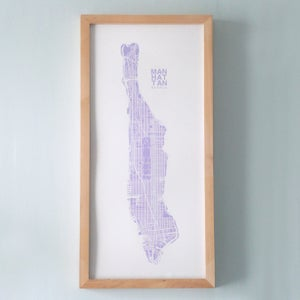 Image of Purple Silk-Screen Printed Map of NYC