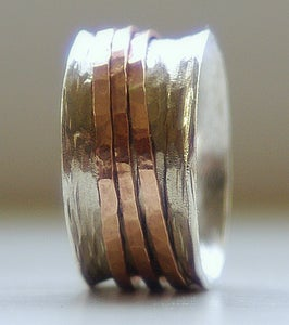 Image of Unique Wedding Ring: Rustic Sterling Silver and 14k rose gold fill wide spinner ring