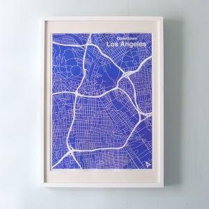 Image of Blue Silk-Screen Printed Map of LA