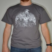 "Image of ""dove"" t-shirt white on charcoal  (price = PPD NL) Get in touch for international shipping."