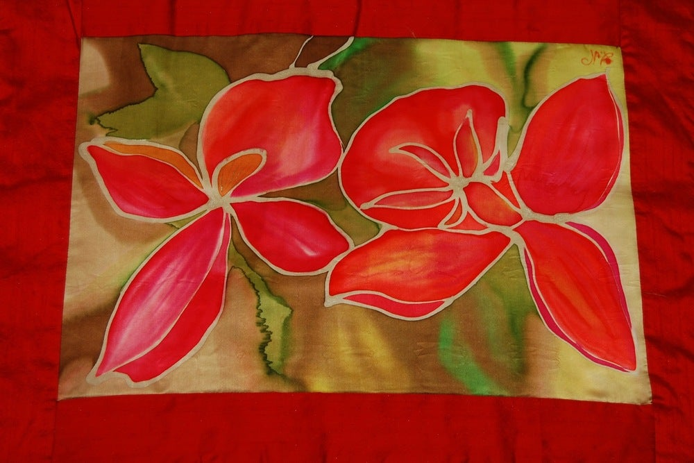 Image of Prosperity Meditation Cushion - Handpainted Silk