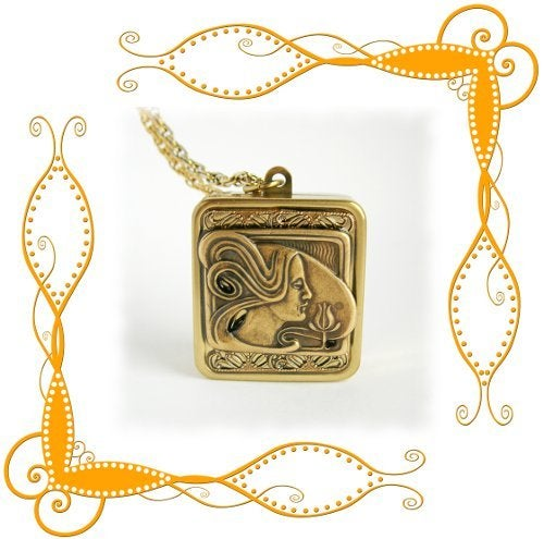 Image of Nouveau Woman music box Pendant ~ choose one of several melodies